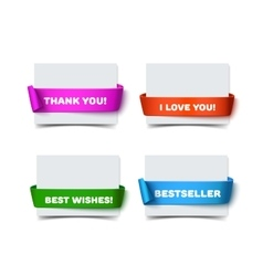 Set of four paper greeting cards with curved red vector