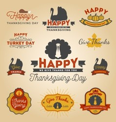 Set of Thanksgiving Day Labels Happy Thanksgiving vector image vector image