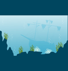 Silhouette of underwater ship and reef landscape vector