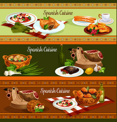 Spanish cuisine traditional food banners vector