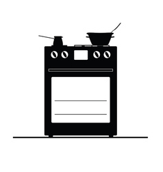 Stove black and white vector
