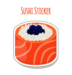 sushi sticker asian food with caviarrice - label vector image