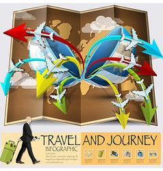 Travel and journey world map infographic vector