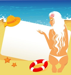 tropic back girl vector image