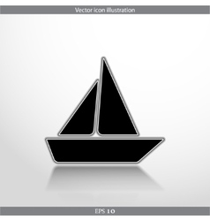 yacht web flat icon vector image vector image