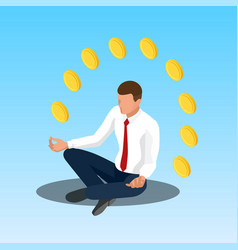 young yoga position businessman relaxing vector image vector image