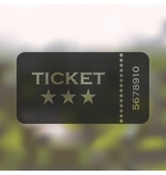 Ticket icon on blurred background vector