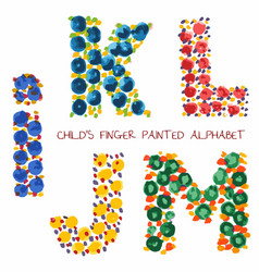 Colorful funny paint alphabet iklmj letters vector
