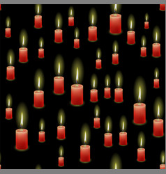 Red burning wax candles seamless pattern vector