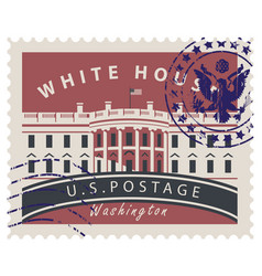 Postage stamp with white house in washington dc vector