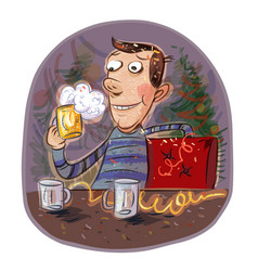 Holiday happy man holding a glass of beer vector