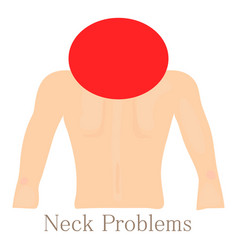 Neck problem icon cartoon style vector