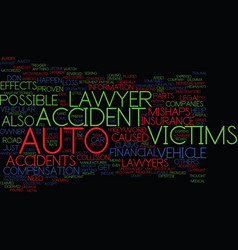Auto accident lawyer text background word cloud vector