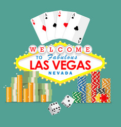 Welcome to las vegas sign with gambling elements vector