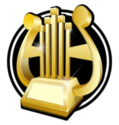 Golden award statuette golden harp vector