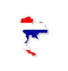 Thailand flag map with shadow effect vector