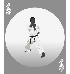 The the person in a kimono is engaged in karate vector