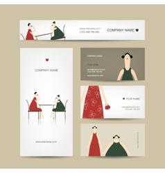 Set of business cards design friends drink tea in vector image
