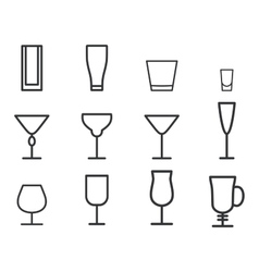 Beverage thin line symbol icon cocktails vector