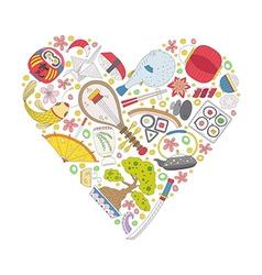 Japan heart vector