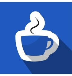 Blue information icon - cup with smoke vector