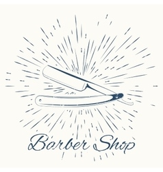 Straight razor and vintage sun burst frame vector