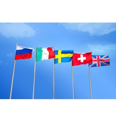 Flags on blue sky background vector