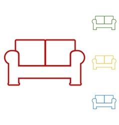 Sofa set of line icons vector