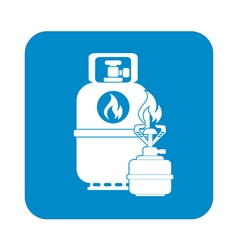 Camping gas bottle icon icon vector