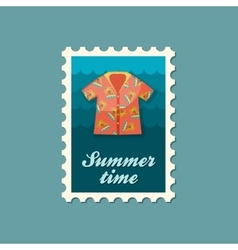 Hawaiian shirt palm tree stamp summer vacation vector