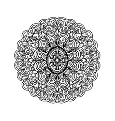 Abstract mandala ornament for adult coloring books vector