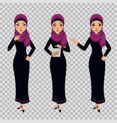 Arab business woman character in different poses vector