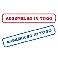 Assembled in togo rubber stamps vector