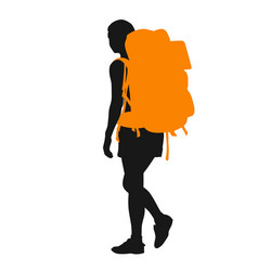Backpacker silhouette vector
