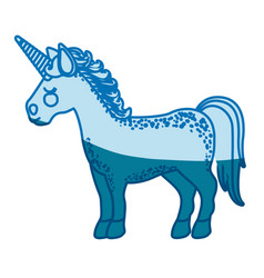 Blue silhouette of cartoon unicorn standing with vector