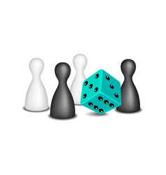 board game figures with dice vector image vector image