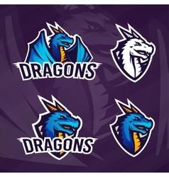 Creative dragon logo template Sport mascot design vector image