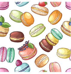 delicious food of france colored macaroons set vector image