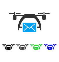 Drone mail flat icon vector