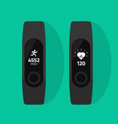 Fitness band run tracker flat cartoon vector