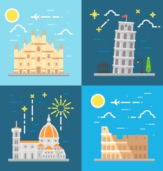 Flat design italy landmarks set vector