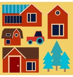 Flat rustic house background with tractor vector image vector image