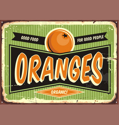 fresh organic oranges vintage sign vector image