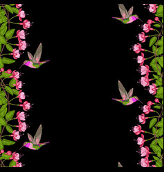 Fuchsia and hummingbird seamless border vector