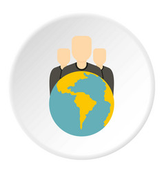 Globe and group of people icon circle vector