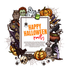 happy halloween sketch frame for greeting card vector image