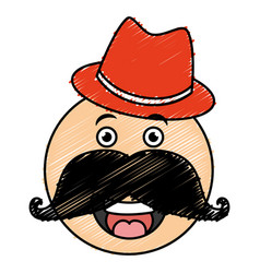 Kawaii character with hat and mustache vector