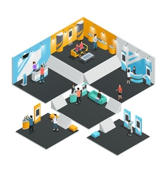 Multistore exhibition stands isometric vector