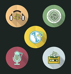 music flat icon design set vector image vector image