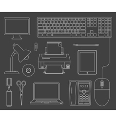 outlined set of office devices vector image vector image